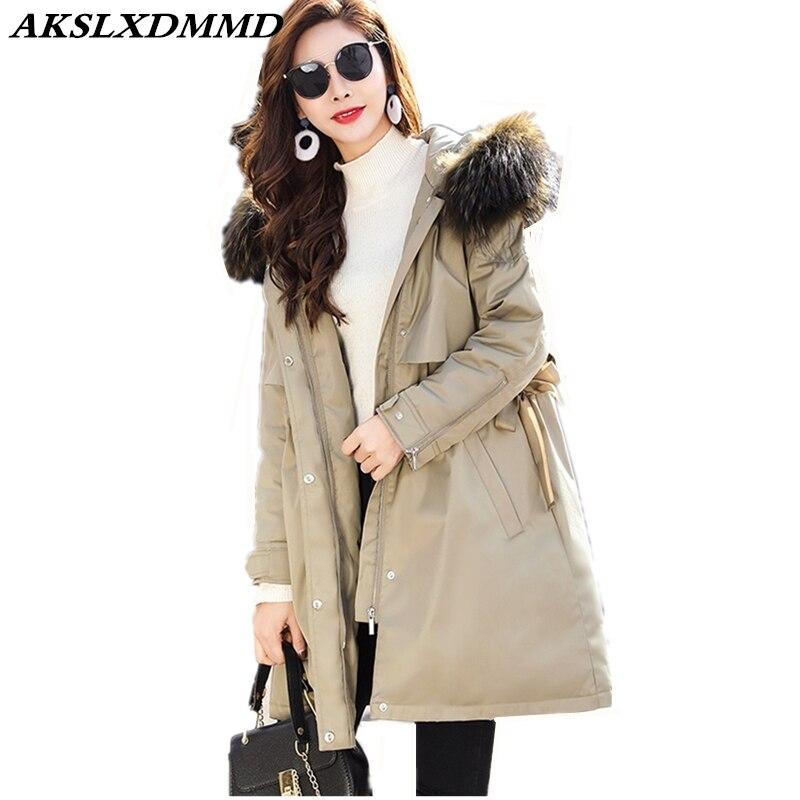 2019 Women Winter Cotton Coat Hooded Fur Collar   Parka   temperament Thicken Slim Mid-Long Coat Outerwear Warm Winter Jacket CW024