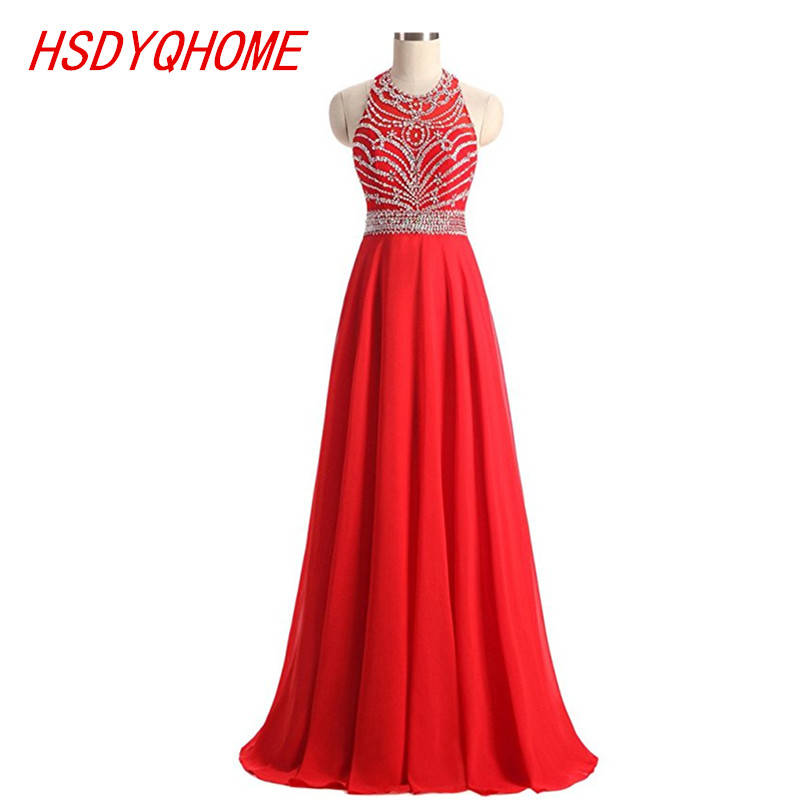 HSDYQHOME Sleeveless Beading Evening dresses 2018 Cheap A-line Chiffon Evening prom gown Party Dress