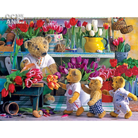 Flower Shop Mosaic Painting Full Rhinestone Needlework Diamond Painting Cross Stitch Bear Doll Square Diamond Embroidery
