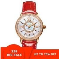Риф Тигр/RT лучшие брендовые роскошные часы женские красный кожаный ремешок Водонепроницаемый Кварцевые часы Женские часы подарок для жены