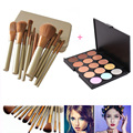 15 Colors Face Concealer Contour Powder Palette Eyeshadow + 12pcs Powder Foundation Blusher Makeup Brush with Case Cosmetic Kits
