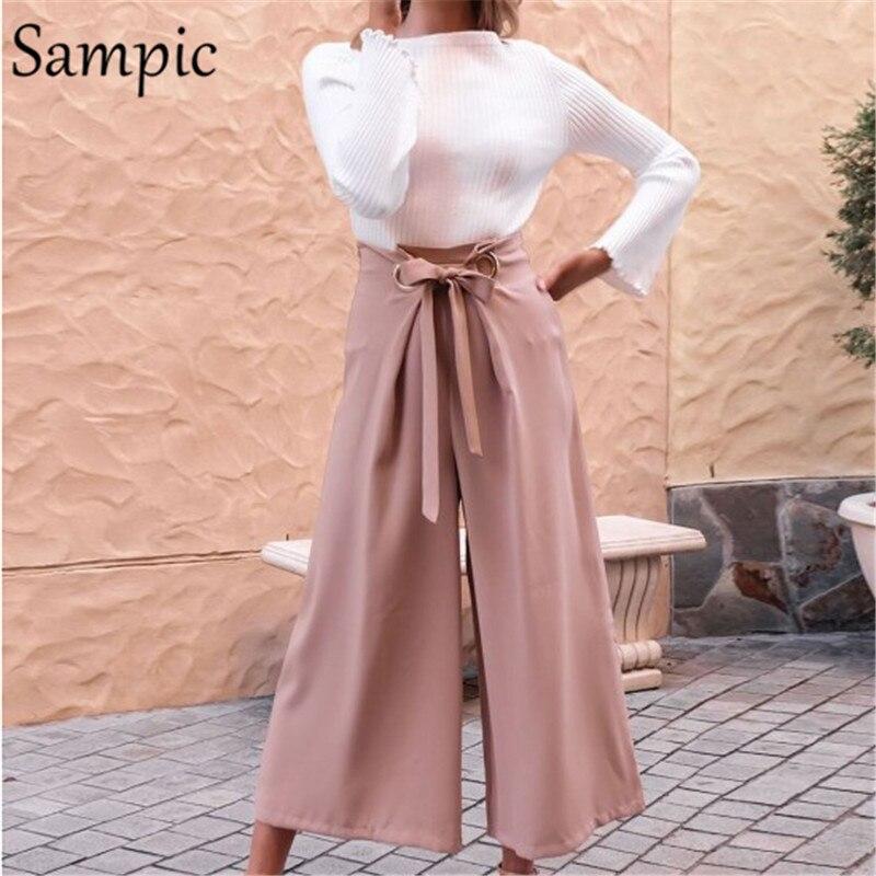 Sampic широкие женские брюки с высокой талией Плюс Размер Офисная свободная повседневная юбка брюки черные розовые осенние летние длинные брюки 4XL|Брюки |   | АлиЭкспресс