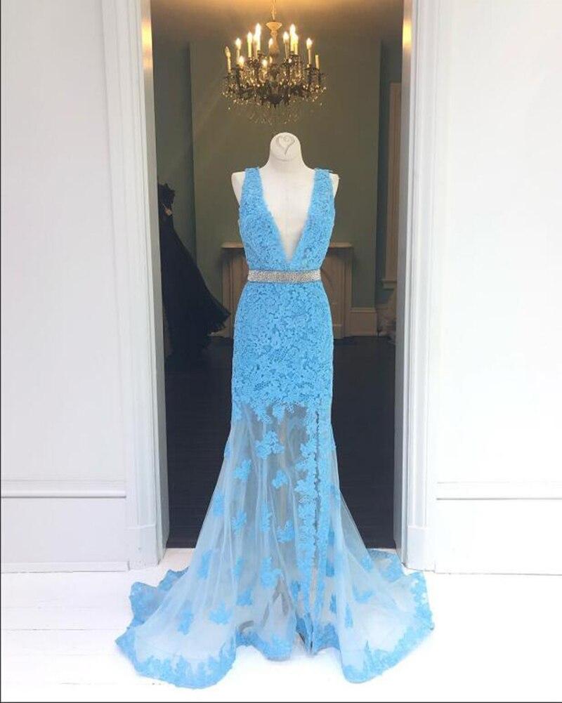 Реальное изображение синий Русалка Вечерние платья 2019 длинный v образный вырез Серебряная лента кружевное женское платье Формальные Вечер