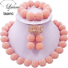 Laanc Peach African Beads Jewelry Set for Nigerian Wedding Simulated Pearl Necklace and Earrings SP1R004(China)