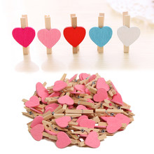 50PCS Mini Pegs Hearts Wooden Photo Clips Wedding Decal Room Craft Picture Holder Desk Sets School Stationery Office Supplies(China)