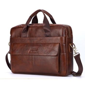 Men Genuine Leather Casual Laptop Crossbody Shoulder Bag 1