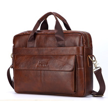 Men Genuine Leather Handbags Casual Leather Laptop Bags Male