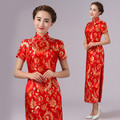 Chinese Costume Tang Suit Women Cheongsams Flower print Qipao long Dress Chinese Vintage Slim Sexy Dress