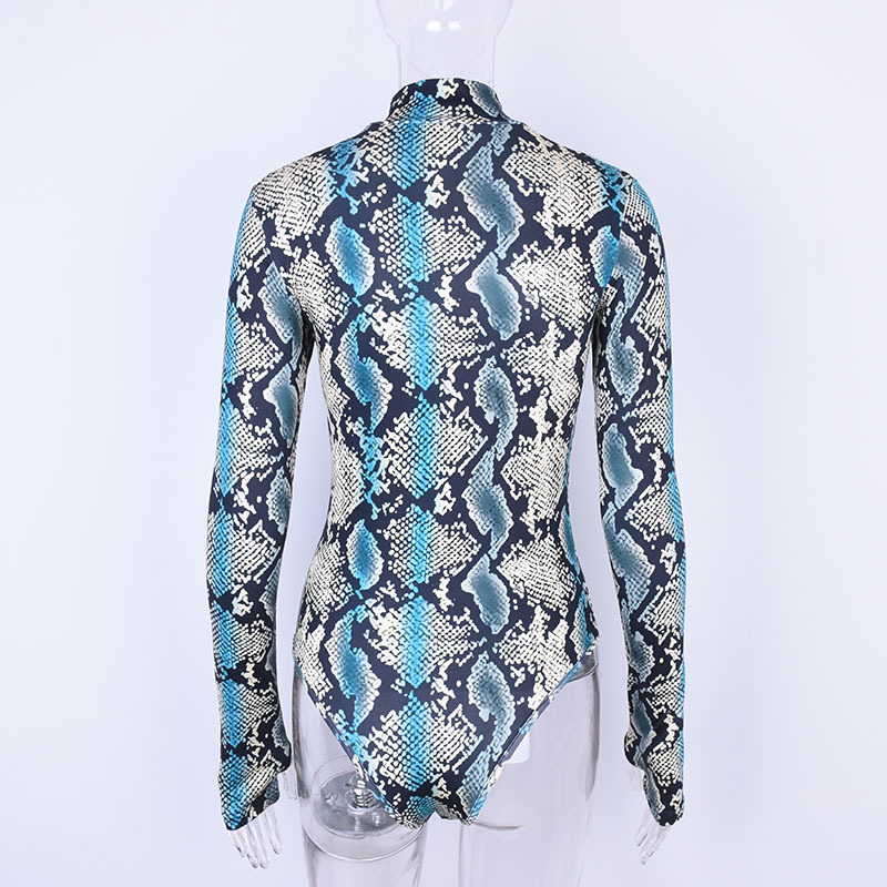 b7225c75748 NCLAGEN 2018 New Women Sexy Snake Skin Serpentine Print Jumpsuit Romper  Long Sleeve Slim Fit Bodysuit Skinny Blue Grey Playsuits-in Bodysuits from  Women s ...