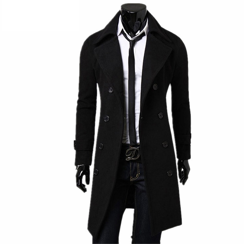 New Trench Coat Men 2020 Jacket Mens Overcoat Casual Slim Fit Windbreak Solid Long Coat Men Fashion Winter Coats Homme Plus Size