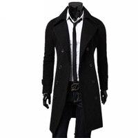 New Trench Coat Men 2019 Jacket Mens Overcoat Casual Slim Fit Windbreak Solid Long Coat Men Fashion Winter Coats Homme Plus Size