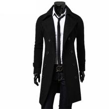 Nowe Trench płaszcz mężczyźni 2018 kurtka mężczyźni płaszcz casual Slim fit Windbreak solidny długi płaszcz mężczyźni Fashion zima płaszcze Homme plus rozmiar tanie tanio Mężczyzn Wykopu Kołnierz skrętu Single breasted Regularne Trencz mężczyzn Poliester bawełna W BSETHLRA Standardowych