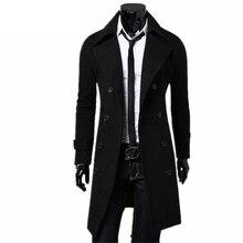 Trenca abrigo largo entallado informal para hombre, de color liso abrigo largo, abrigos de invierno a la moda, de talla grande, 2020