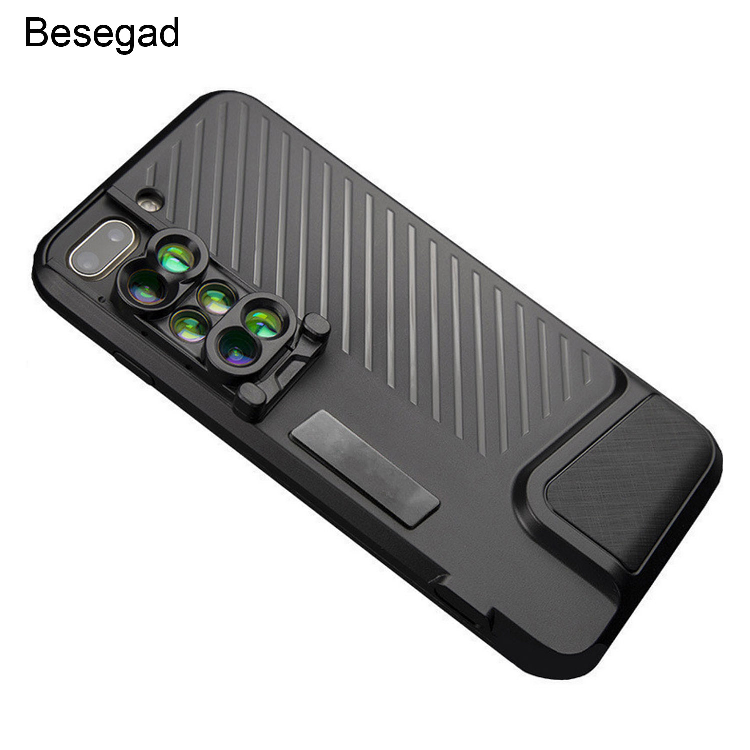 Besegad Dual Camera Lens Wide Angle Fish Eye Lens Macro Lens Telephoto with Phone Cover Case