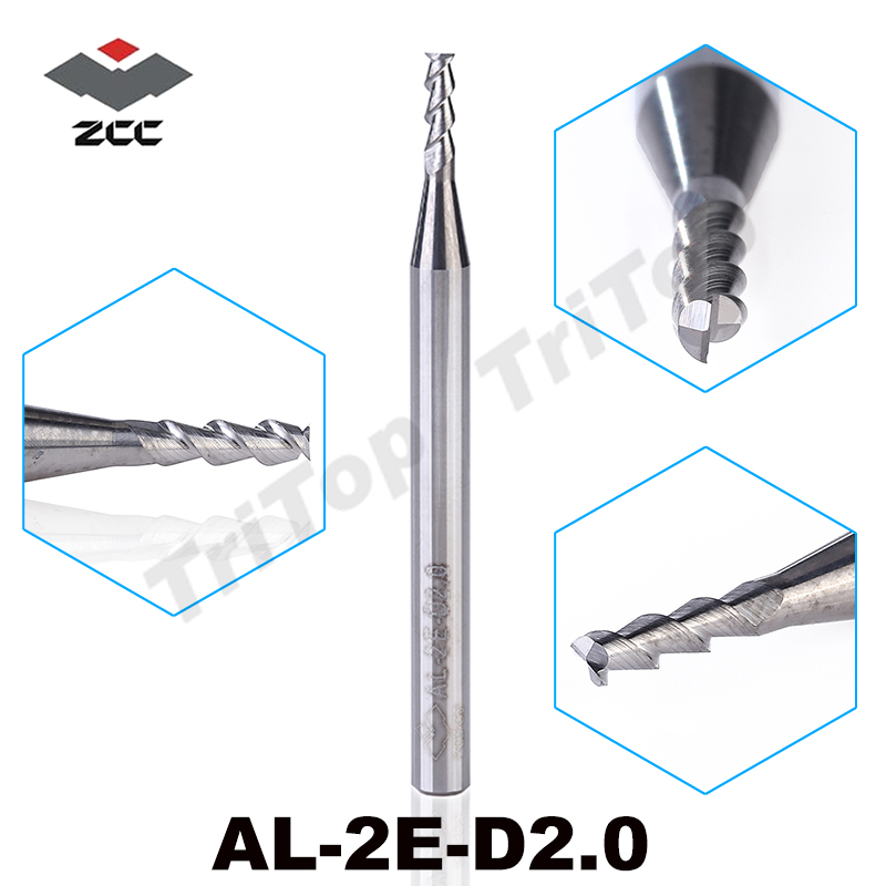 5pcs/pack AL-2E-D2.0 ZCC.CT solid Carbide End mills 2mm 2 flute aluminium alloy cnc machining milling cutter cutting tools цена