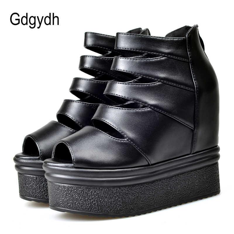 Gdgydh Roma Tarzı Yaz Ayakkabı Kadın Platformu Bayan Yaz Botları Takozlar Ayakkabı Cut-out Fermuar Rahat Drop Shipping
