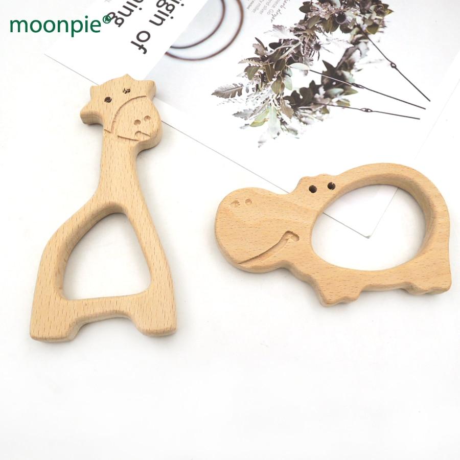 10pcs 98mm big hippo shape  beech pendent 120mm GIRAFFE WOODEN TEETHER hand carving animal teether  baby wood teether EA335