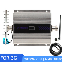3G WCDMA 2100 Repeater Cell Phone Signal Cellular Booster Mobile Amplifier LCD Mini 3G LTE UMTS with Whip+Yagi Antenna Kits