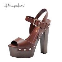 Różowy Palms kobiety letnie buty kawy klin kobiet nity dekoracji wysokie obcasy peep toe strap kostki wygodne sandały firm