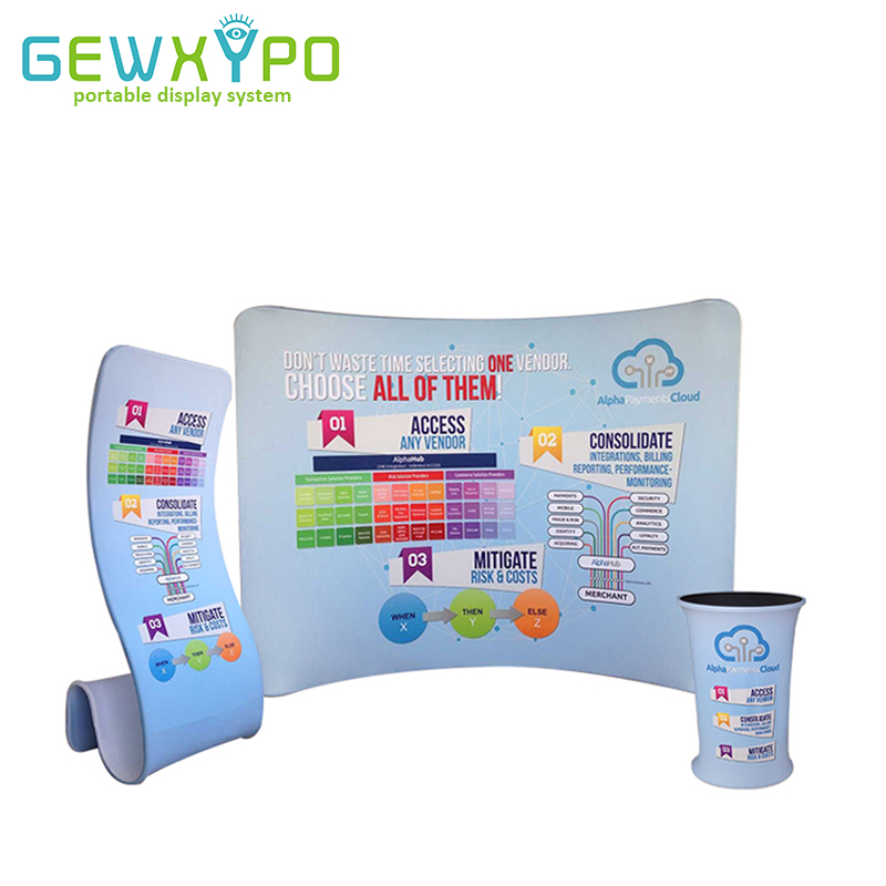 10ft*7.5ft Curved Tension Fabric Backdrop Display With Podium Oval Table And Snake Banner Stand(Include Single Side Printing)