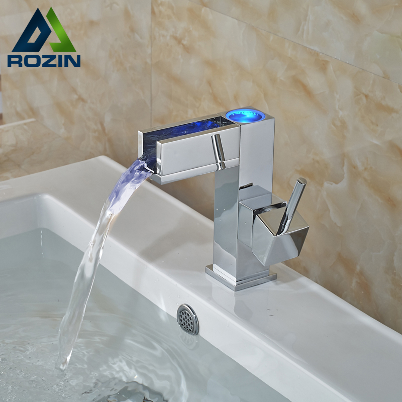 цены Single Handle Square Waterfall LED Bathroom Sink Faucet Deck Mount One Hole Brass Chrome Mixer Taps for Basin