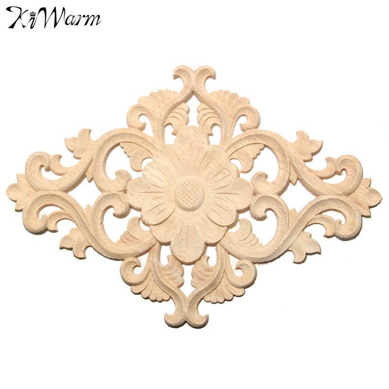 KiWarm 21x15cm Vertical Floral Wood Carved Corner Woodcarving Decal Onlay Applique Sculptures For Home Furniture Cabinet DecorKiWarm 21x15cm Vertical Floral Wood Carved Corner Woodcarving Decal Onlay Applique Sculptures For Home Furniture Cabinet Decor