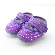 Newborn Baby Girls Booties Polka Dot Soft Sole Cotton First Walkers Moccasins Pink Red Purple(China)