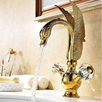 New Double Handle Single Hole Hot and Cold Water Faucet Gilt Velvet Basin Faucet European Luxury Ceramic Basin Faucet M01 Hot