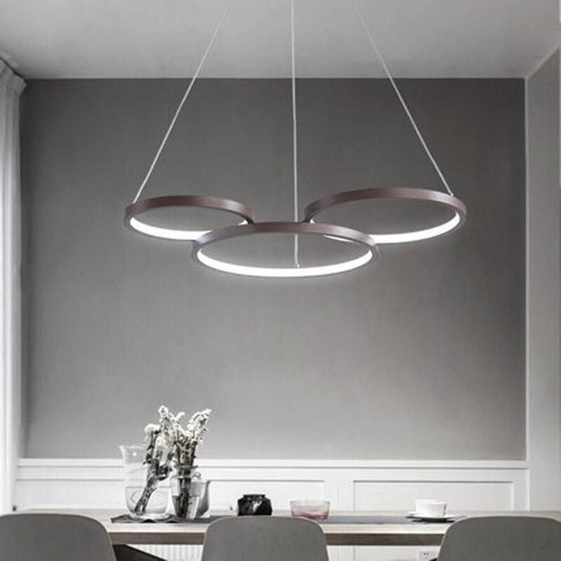 Modern Led Pendant Light Ring Circular Fixtures Overhead Lighting Hanging Dining Living Room Lights For Home Restaurant Bar Lamp