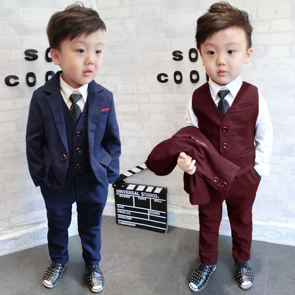 Children Boys Formal Suit Gentleman 3 PCS Set Jacket Pants Vest for Wedding Birthday Party winter children boys formal sets 5 pcs woolen blend coat pants vest shirt tie costume wedding birthday party gentleman boy suit