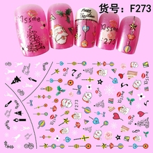5 Sheets Thin Adhesive Christmas Style Decals Nail Art Decorations Stickers Acrylic Nails Accessoires Supplies Tools