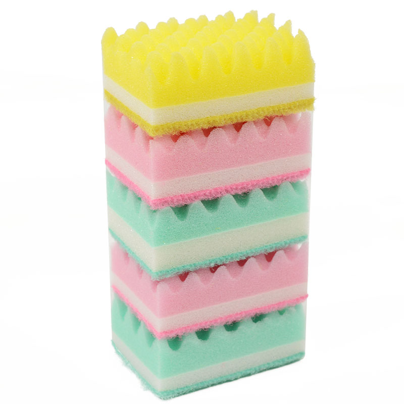5pcs lot Wave Style Cleaning Sponge Kitchen Double Sided Microfiber Magic  Sponge Eraser Household Wipe Wash Dishes Sponge-in Sponges   Scouring Pads  from ... a34f80e778862