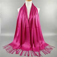 Exquisite Quaste Glitter Lurex Muslimischen Hijabs Frauen Schal Klar Baumwolle Lange Schal Malaysia Kopftuch Underscarf Gebet Turbante