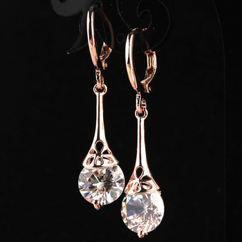 Free shipping White CZ Stone Crystal Pierced Dangle Drop Earrings Jewelry 2018 New Fashion Hot Women.jpg 350x350 - Free shipping White CZ Stone Crystal Pierced Dangle Drop Earrings Jewelry 2018 New Fashion Hot Women/Girl's Rose Gold-color Gift