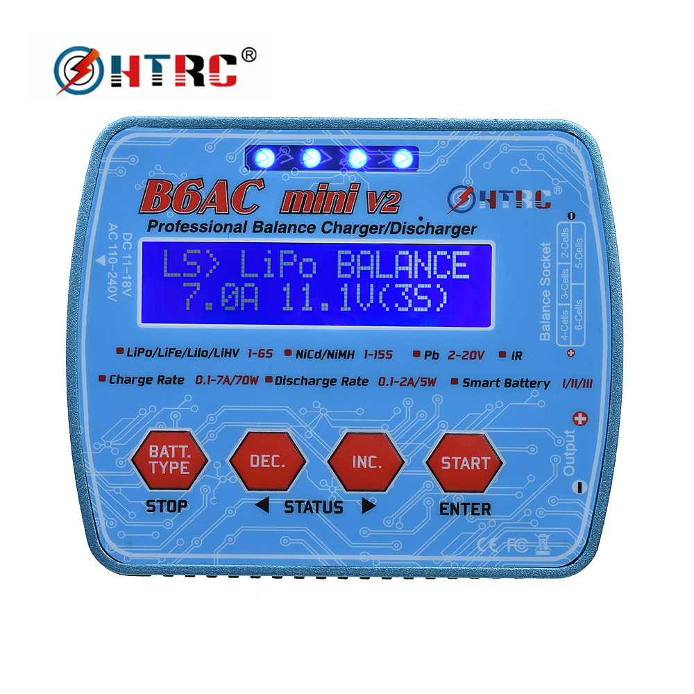 HTRC Imax Professional Digital Charger B6AC Mini 70W 7A RC Balance Charger for Lipo Lihv LiIon LiFe NiCd NiMH Battery DischargerHTRC Imax Professional Digital Charger B6AC Mini 70W 7A RC Balance Charger for Lipo Lihv LiIon LiFe NiCd NiMH Battery Discharger