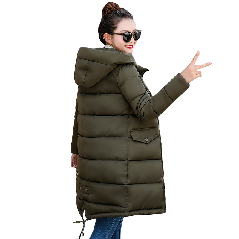 Fashion Hooded Coat Slim Down Cotton Padded Jacket Coat Female Thick Long Down   Parkas   Outwear Winter Jacket Women 2018 New