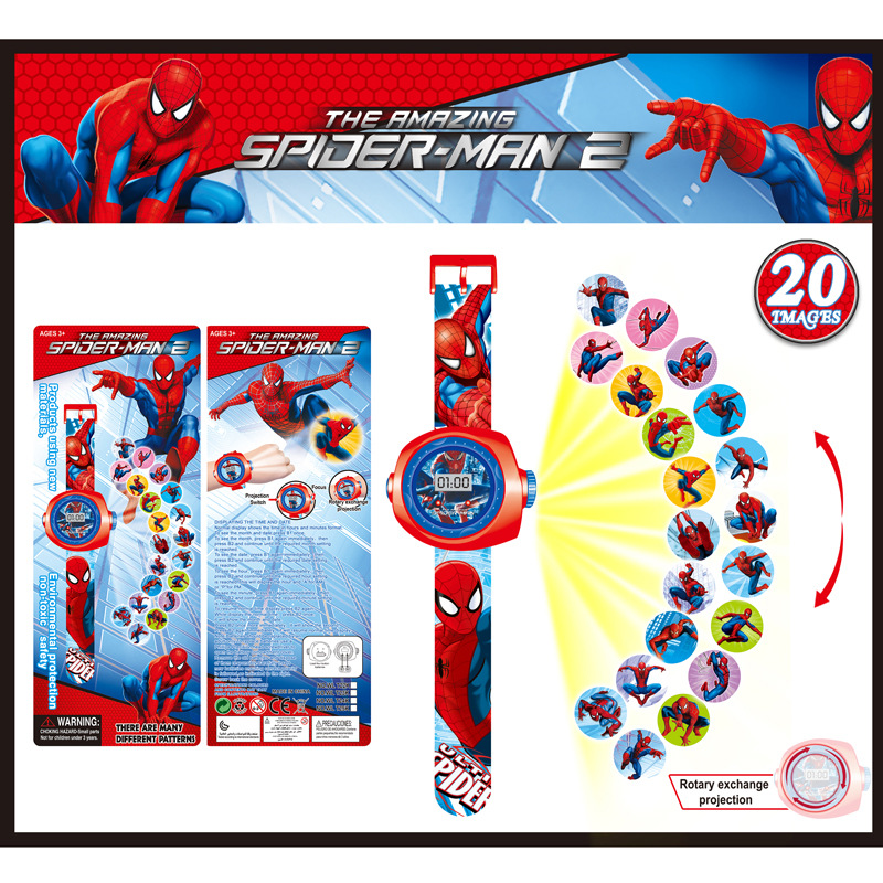 FD Creative Reflection Children Watch Cute Cartoon Pattern Spiderman Cool LED Display Kids toy Clock Hot New Girls Boys gifts creative target toy led red word display mute alarm clock