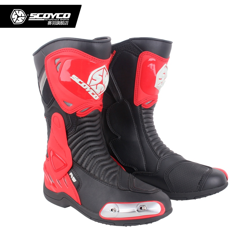 Bottes de cyclisme Moto en cuir véritable Motocross chaussures de course Moto Botas chaussures Moto Scoyco MR001