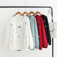 Plus size light green & black & red & white floral Embroidered sweatshirt femme 2018 autumn cotton hoodies women tops pullovers