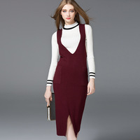 2017 Autumn New Style Straps Knitted Dress Europe And America Fashionable Women S Clothing Deep V