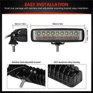 Image 5 - כפול צבע 6 18W Slim LED אור בר לבן אמבר 12V 24V פנסי קרן עבודת אור עבור UAZ 4x4 רכב Moto טרקטורונים UTV DRL offroad
