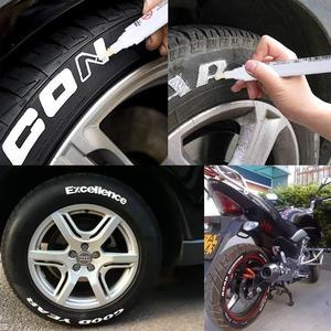 Image 5 - LT1101 לבן צמיג עטי סמן צבע עמיד למים קבוע עט Fit עבור מכונית אופנוע צמיג לדרוך גומי מתכת