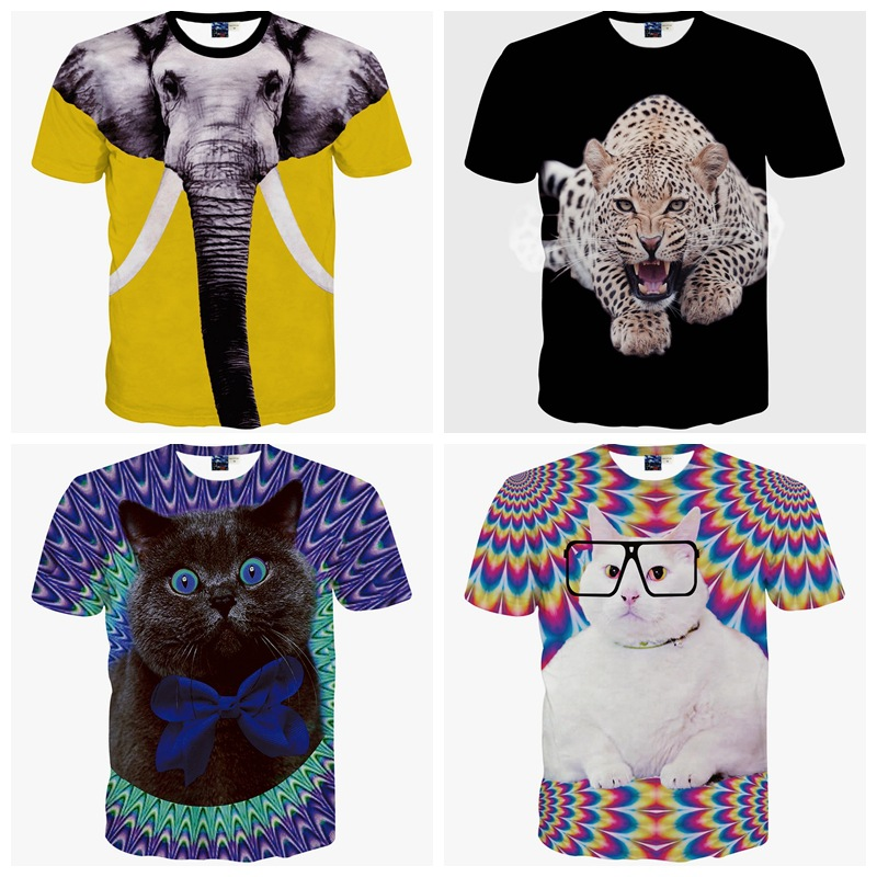 High quality youth fashion 3D animal casual style digital print short sleeve round neck boy T