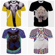 Haute qualité jeunes mode 3D animal style décontracté numérique imprimer manches courtes col rond garçon t-shirt 11-19 ans