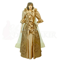 Customer to order!Luxs Gold long sleeves 1800 Renaissance Gothic Theater Victorian Gown Ball Dress Reenactment dresses HL 180