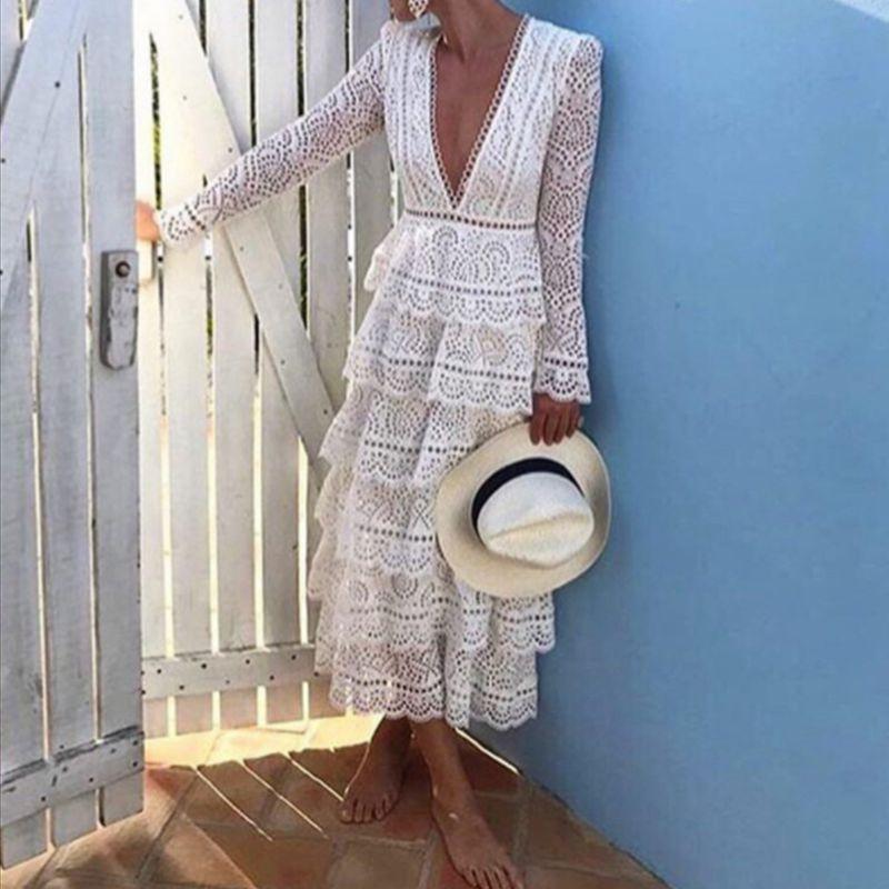 Haute qualité piste de luxe blanc dentelle robe femmes à manches longues Sexy col en v robe de soirée vestidos femme 2019 mode été nouveau