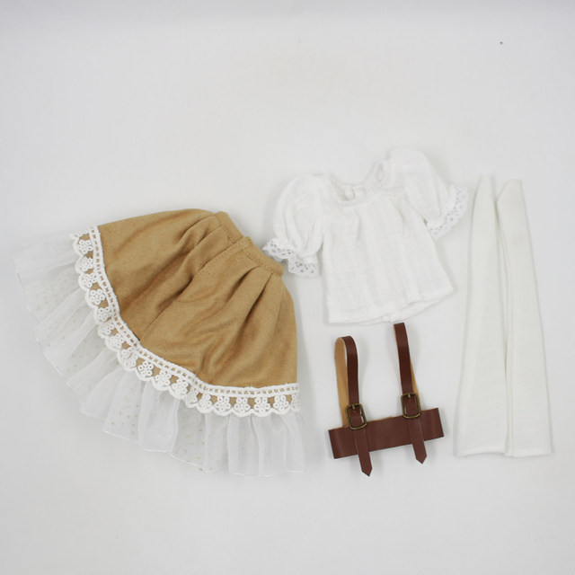 Fortune Days for 1/4 BJD Doll 45cm Highly brown fashion girl in four piece dress Set High Quality Blyth reborn girls Toy Gifts 5