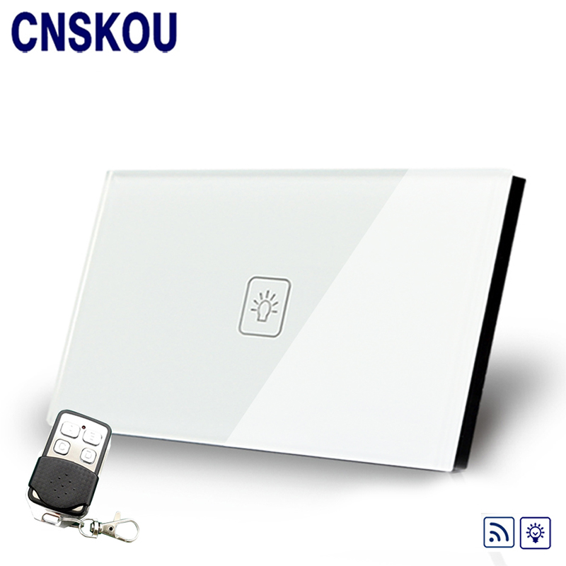 Cnskou US/AU Standard Dimmer AC220V/110V Touch Switch Wall Remote Light Dimmer Touch Sensor Switch 1Gang White Glass Panel+LED 1gang 1way touch remote dimmer switch glass panel touch dimmer light switch eu uk standard ac110 240v hot sale