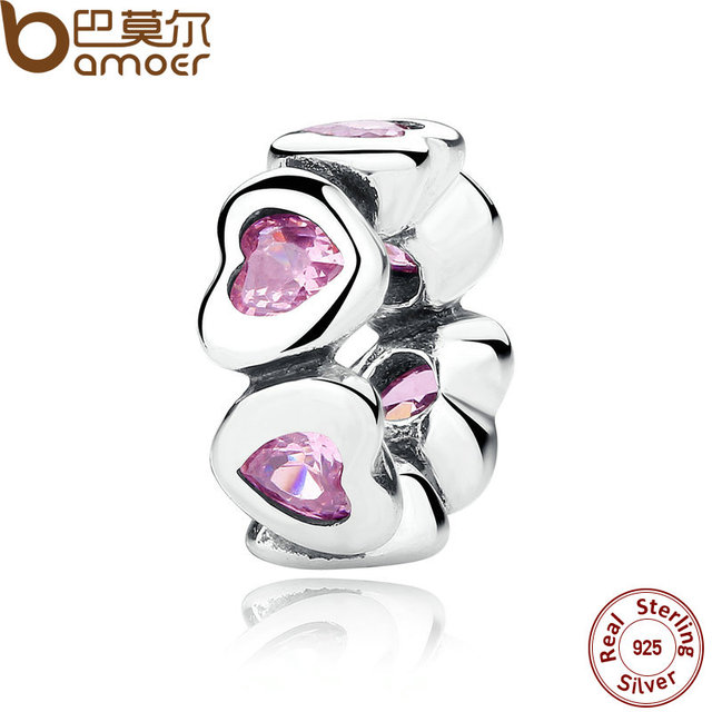 BAMOER REAL 925 Sterling Silver FANCY PINK SPARKLING HEARTS SPACER CHARM Fit Cha