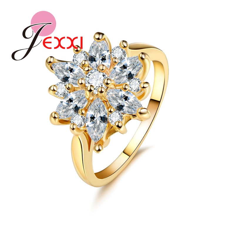 PATICO Rising Sunflower Clear White CZ Crystal Rings Fashion Jewelry Accessary Women Female Yellow Gold Color Wedding Bands